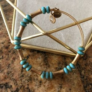 Alex and Ani Gold & Turquoise Beaded Bracelet